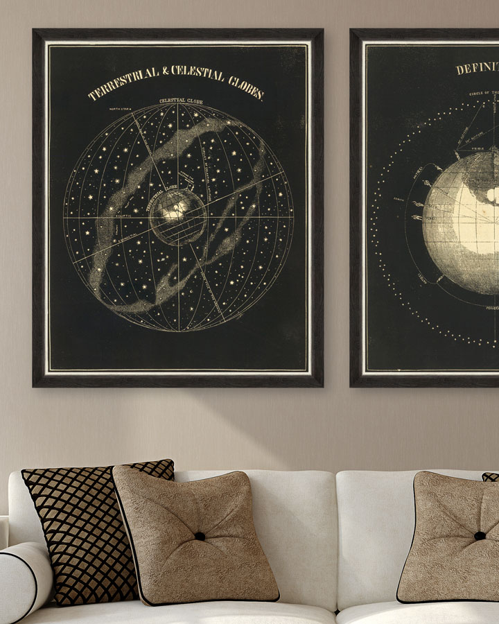 TERRESTRIAL AND CELESTIAL GLOBES Set 2 Framed Art