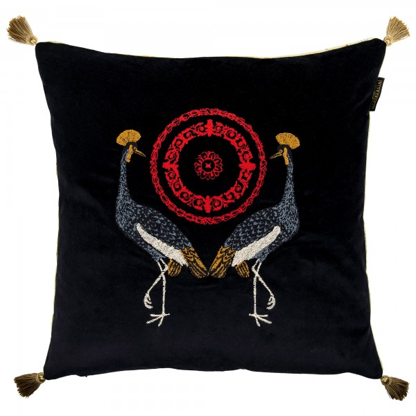 BIRDS OF THE GARDEN Velvet Embroidered Cushion