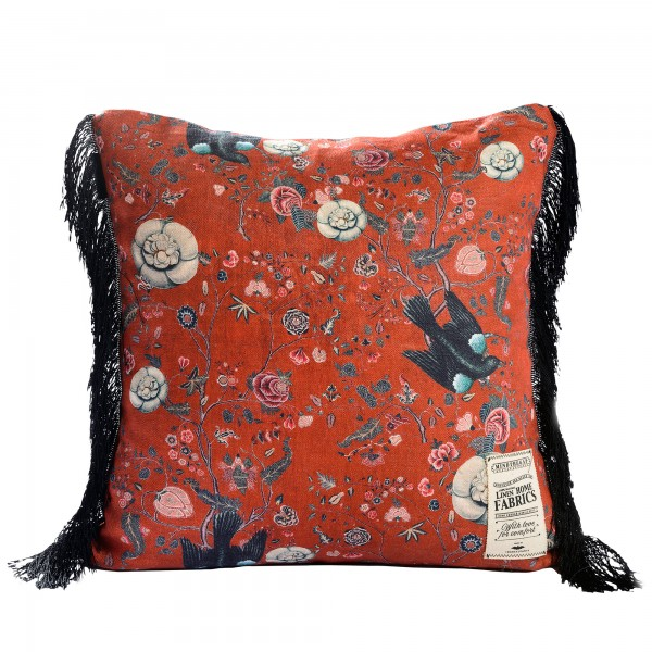 BLACK BIRD Linen Cushion