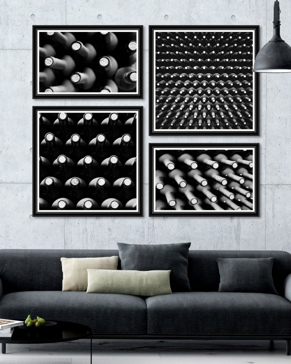 WINE BOTTLES Set of 4 Framed art