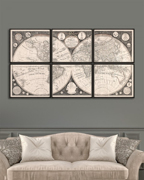 A NEW MAP OF THE WORLD Set of 6 Framed art