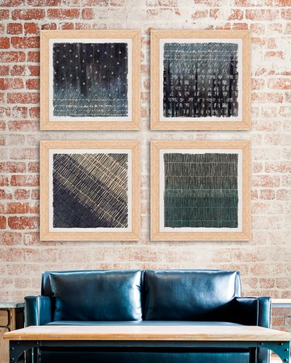 ABSTRACT MARKS Set of 4 Framed art