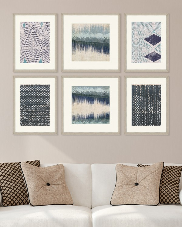 ABSTRACT TEXTILES Set of 6 Framed art