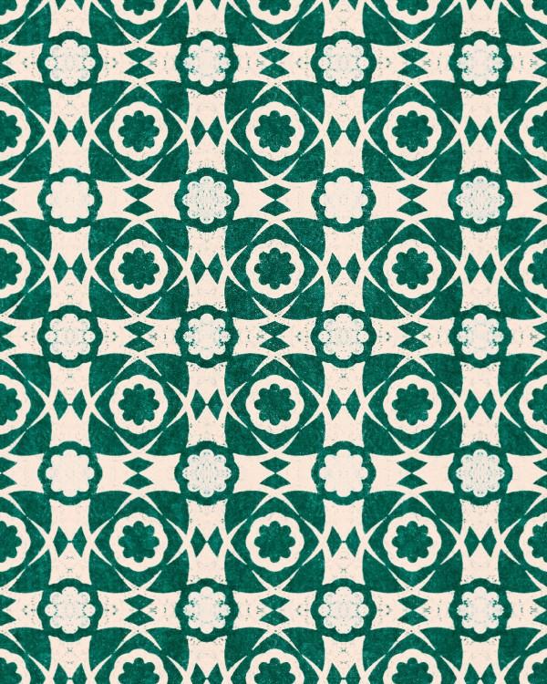 AEGEAN TILES Ultramarine Green Wallpaper