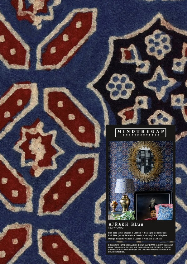 AJRAK Blue Wallpaper Sample