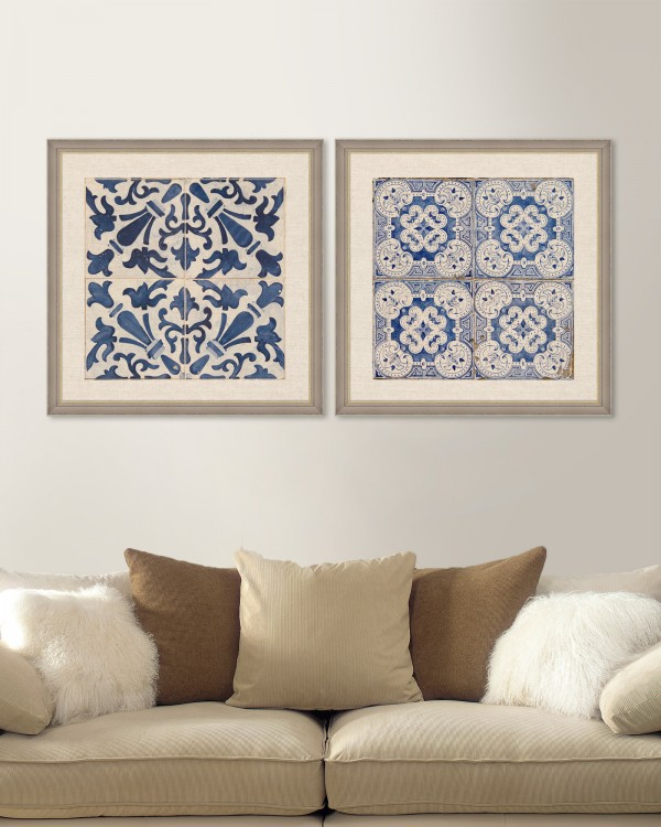 BLUE TILES Set of 2 Framed art