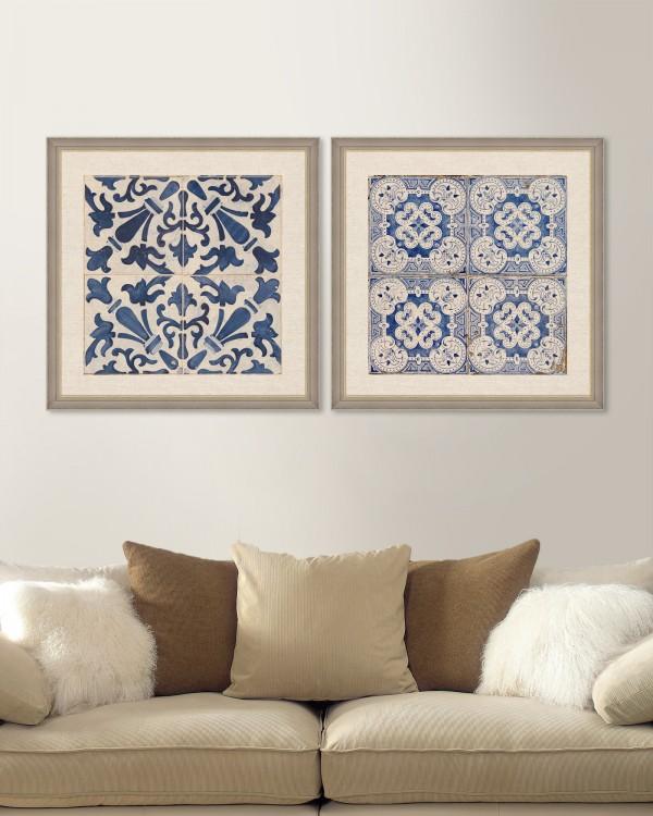 BLUE TILES Set of 2 Framed art