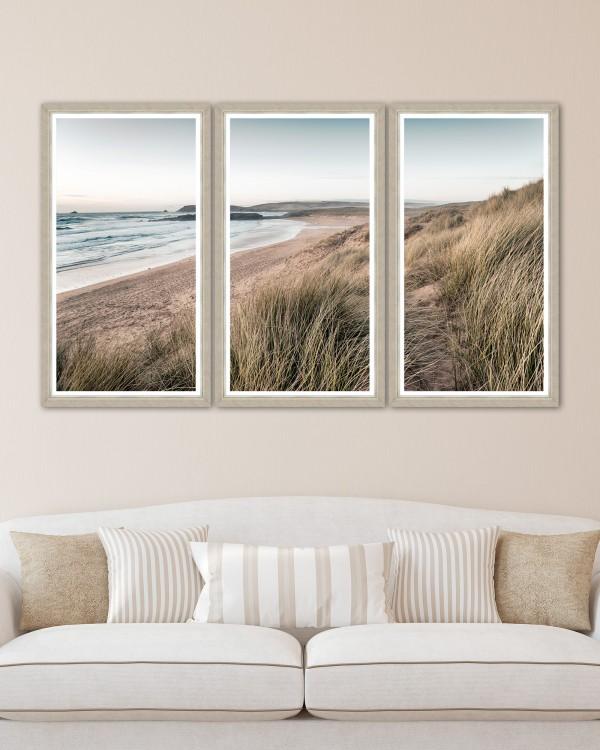 CALM BEACH Triptych Framed Art