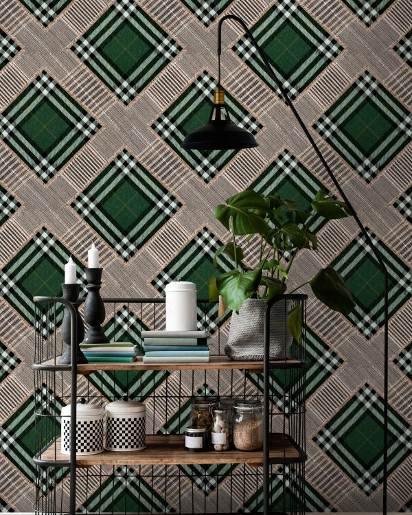 CHECKERED PATCHWORK British Green Wallpaper