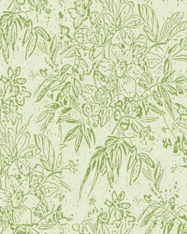CHERRY ORCHARD Green Wallpaper