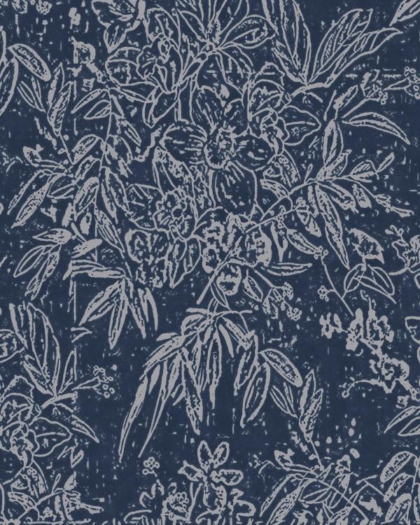 CHERRY ORCHARD Indigo Wallpaper