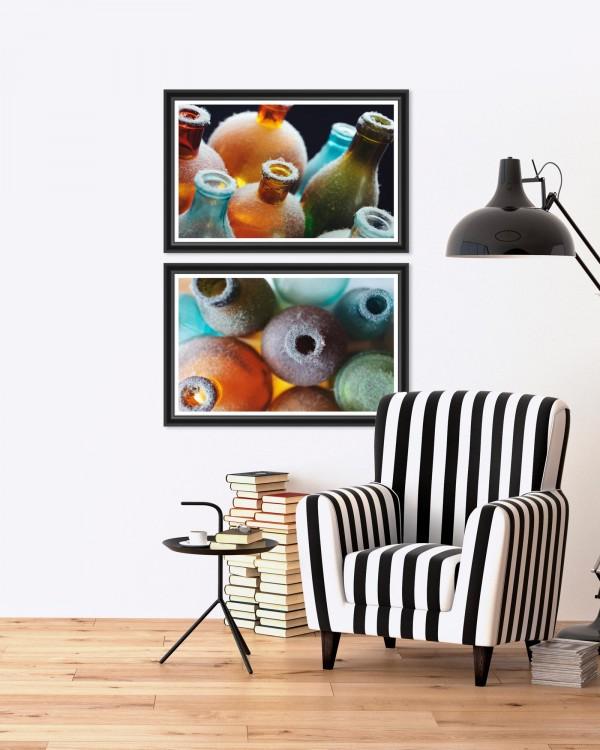 COLORFUL BOTTLES Set of 2 Framed art
