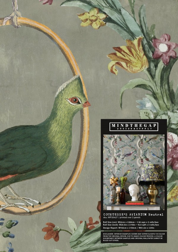 COUNTESSE'S AVIARIUM Neutral Wallpaper Sample