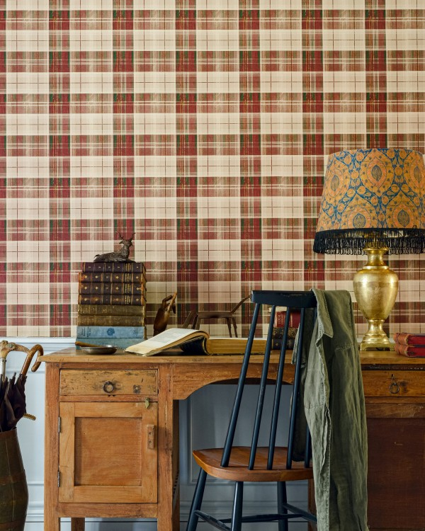 COUNTRYSIDE PLAID Leather Wallpaper