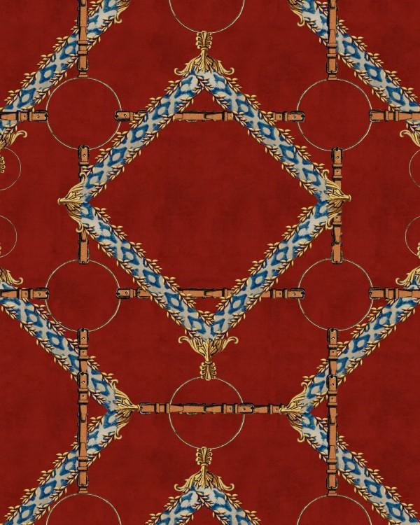 DECORATIVE HARNESS Burgundy Wallpaper