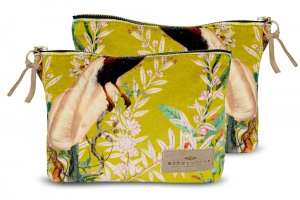 ROYAL GARDEN Green Velvet Wash Bag