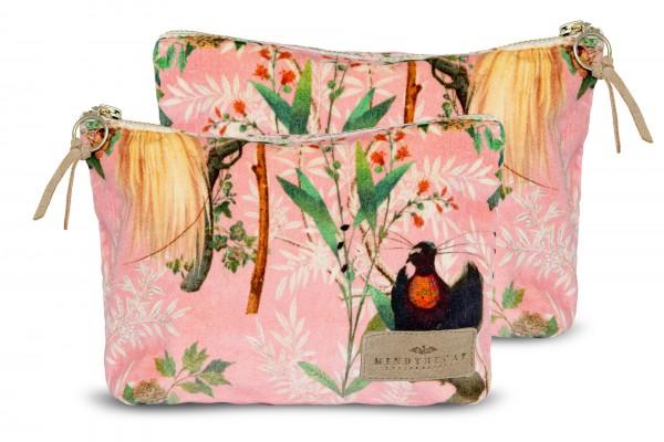 ROYAL GARDEN Pink Velvet Wash Bag