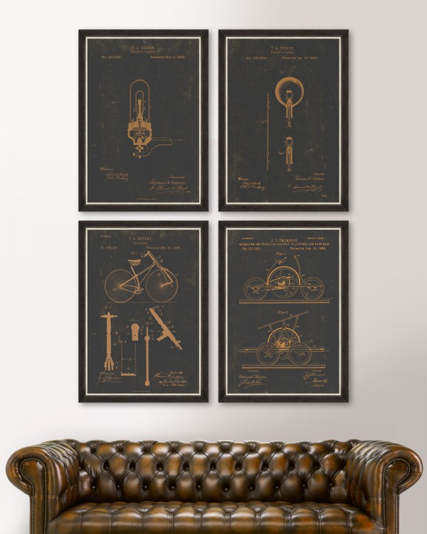 FAMOUS PATENTS Set of 4 Framed art