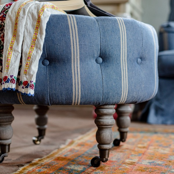 FEZ TUFTED STOOL - KATALIN STRIPE Heavy Linen