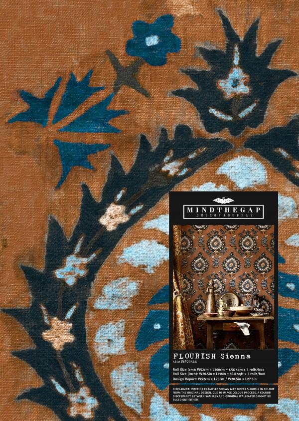 FLOURISH Sienna Wallpaper Sample