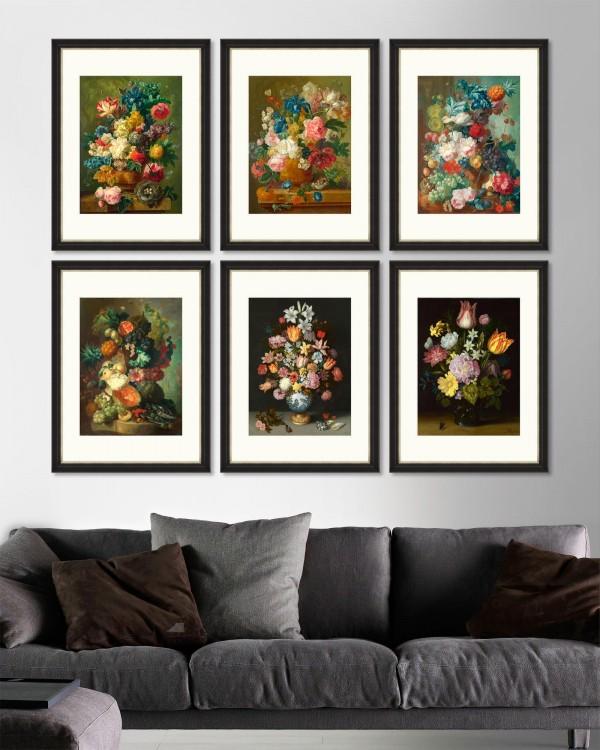 FLOWERS IN VASE Set of 6 Framed art