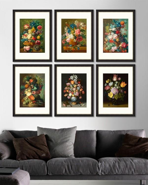 FLOWERS IN VASE Set of 6 Framed art