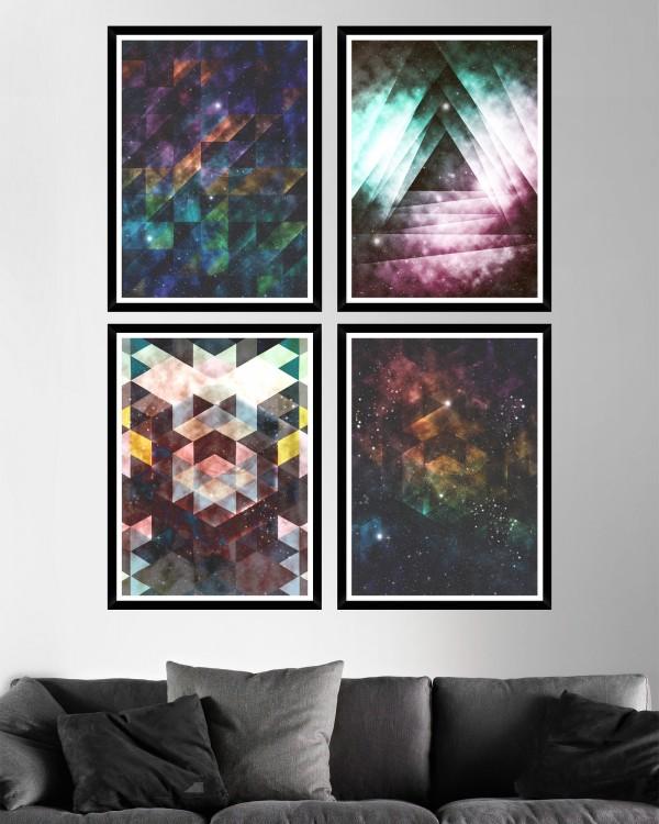 GALAXY TRIANGLES Set of 4 Framed art