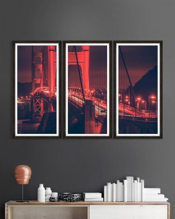 GOLDEN GATE LIGHTS Triptych Framed Art