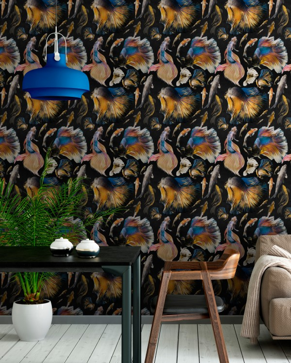 GOLDFISH Anthracite Wallpaper