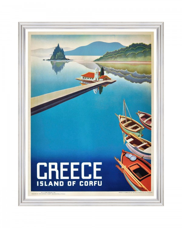 GREECE TRAVELS POSTERS - ISLAND OF CORFU Framed Art