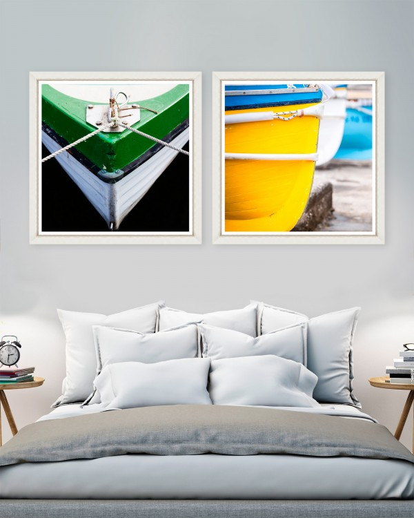 GREEN AND YELLOW BOW Set of 2 Framed art