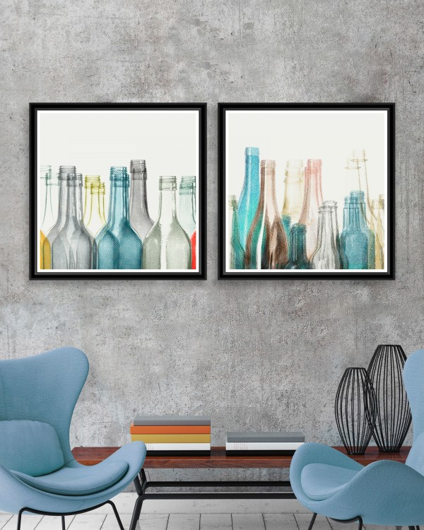 HALFTONE BOTTLES Set of 2 Framed art