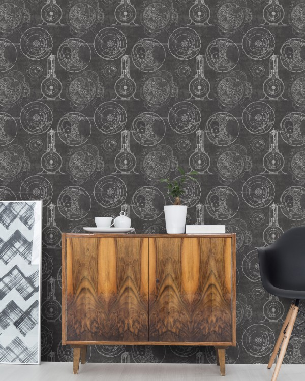HORLOGERIE Anthracite Premium Wallpaper