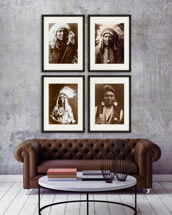 INDIAN CHIEF PORTRAITS Set of 4 Framed art