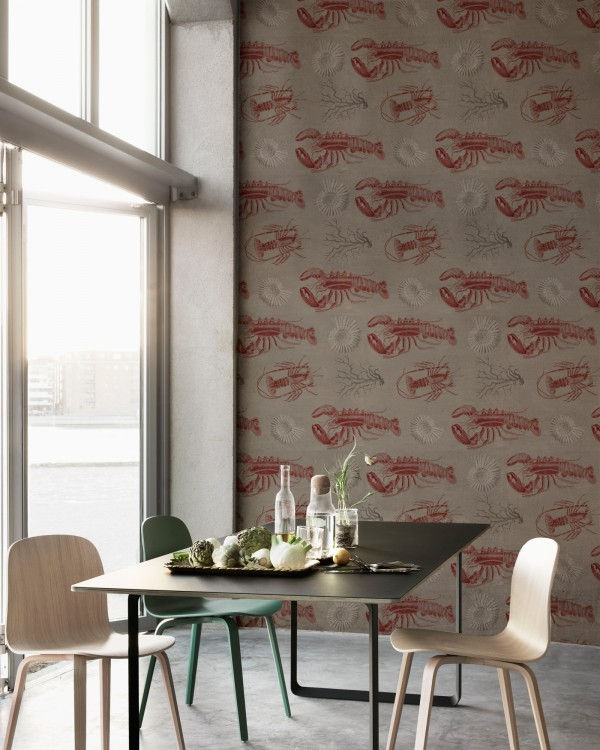 LOBSTER Taupe Premium Wallpaper