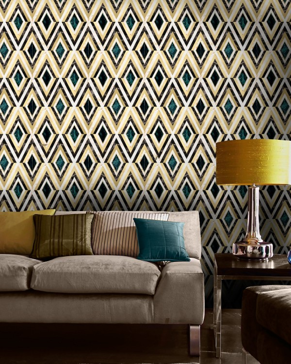 DIAMONDS in Brass Metallic edition Wallpaper
