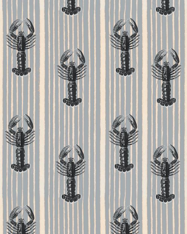 MEDITERRANEAN LOBSTERS Light Grey Wallpaper