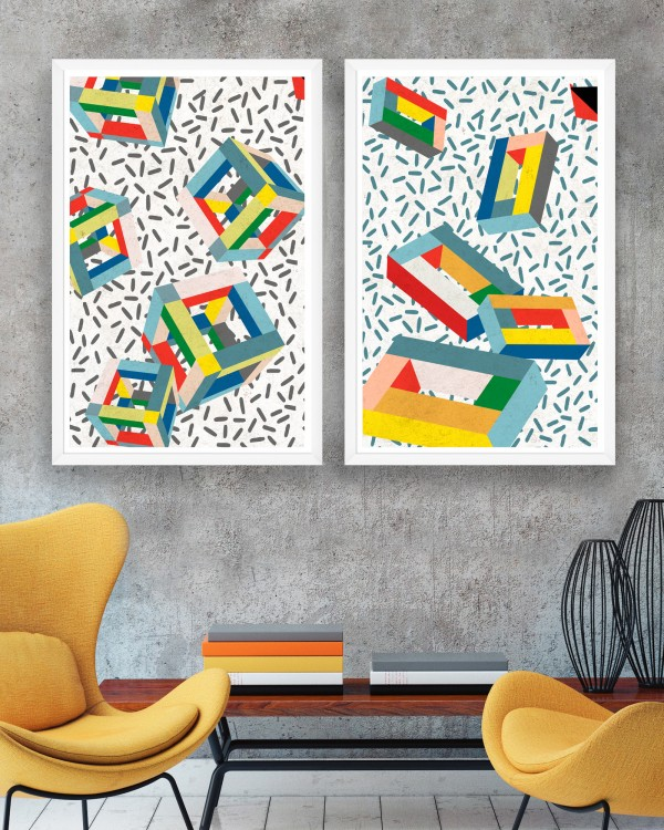 MEMPHIS CUBES Set of 2 Framed art