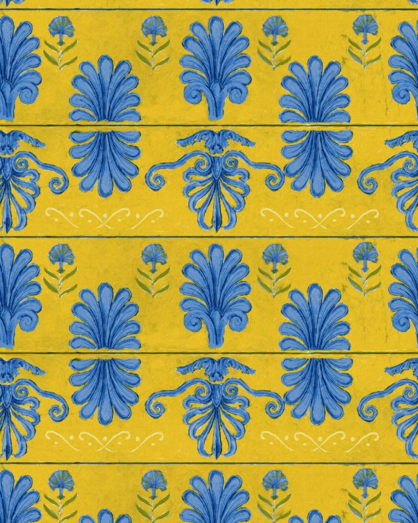 MYKONOS VILLA MOTIF Lemon Wallpaper