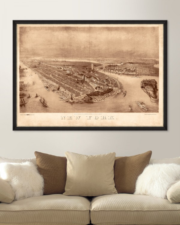 NEW YORK 1874 BIRDEYE MAP Framed Art