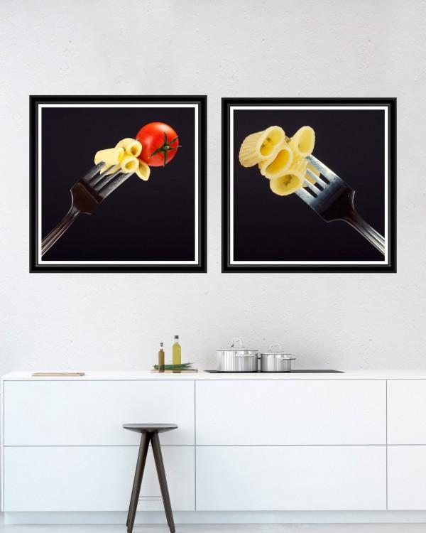 PASTA AND FORK Set of 2 Framed art