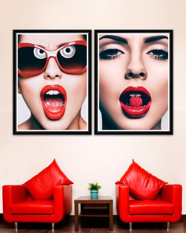 RED GLAMOUR Set of 2 Framed art