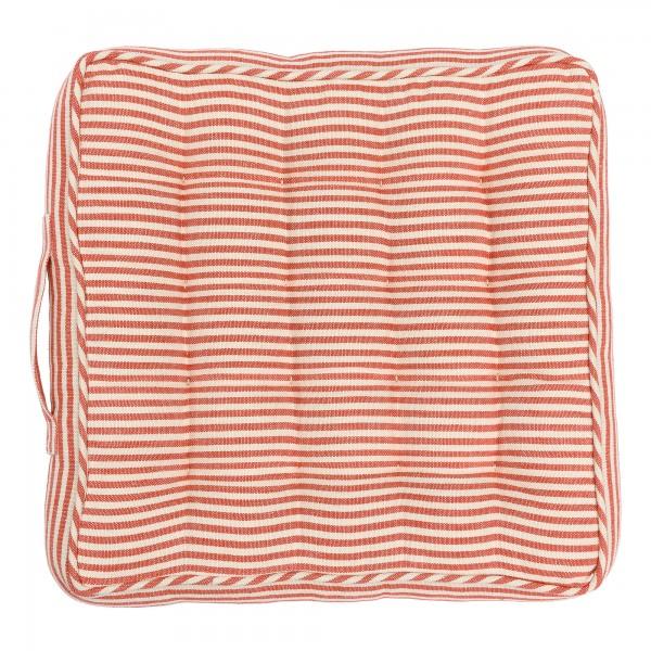 RHUBARB STRIPE linen chair cushion