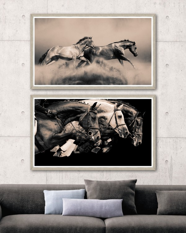RUNNING HORSES Set 2 Framed Art