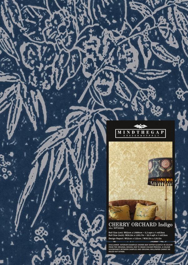 CHERRY ORCHARD Indigo Wallpaper Sample