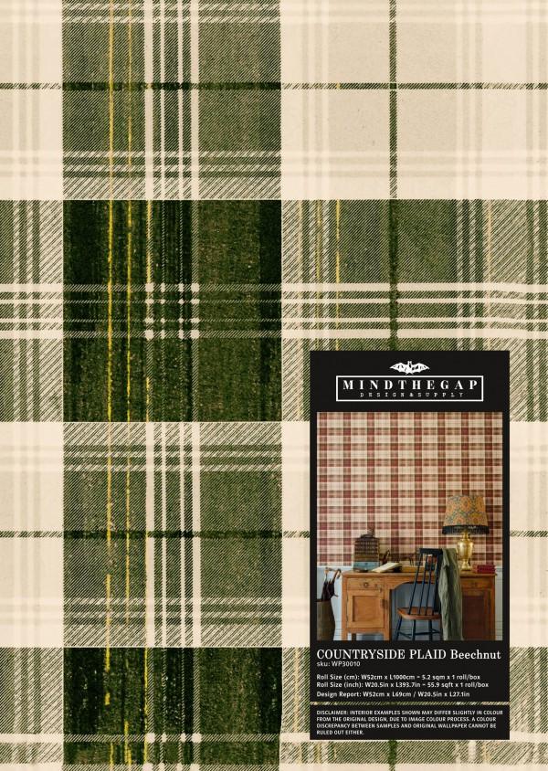 COUNTRYSIDE PLAID Beechnut Wallpaper Sample