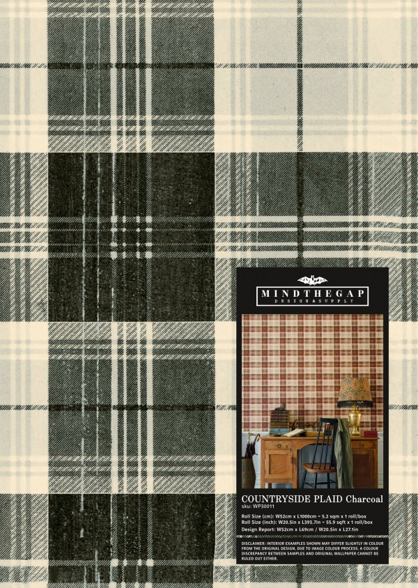 COUNTRYSIDE PLAID Charcoal Wallpaper Sample