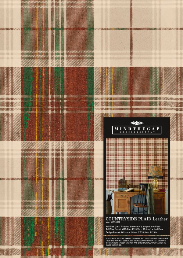 COUNTRYSIDE PLAID Leather Wallpaper Sample