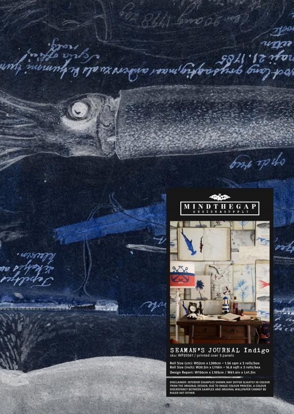 SEAMAN'S JOURNAL indigo Wallpaper Sample