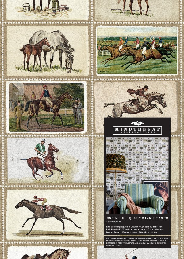 ENGLISH EQUESTRIAN STAMPS Wallpaper Sample